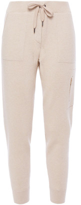 Brunello Cucinelli Ribbed Metallic Cashmere-blend Track Pants