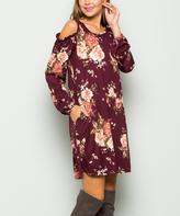 Sweet Pea Burgundy Floral Shoulder-Cutout Shift Dress