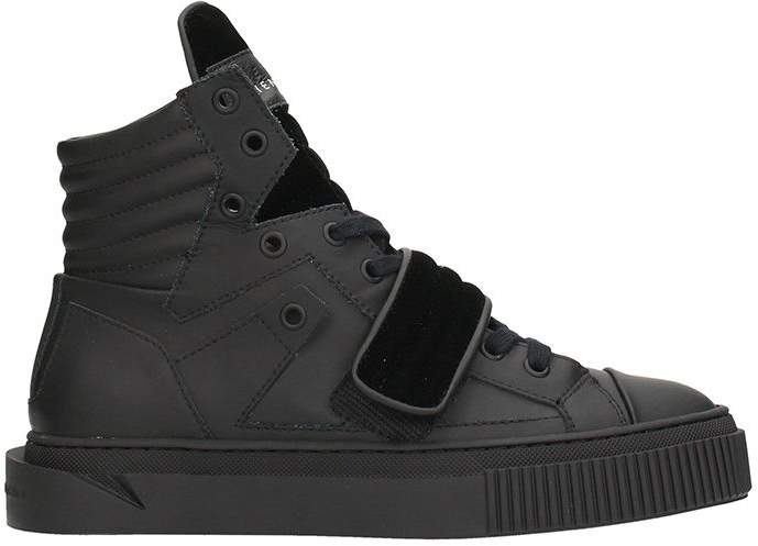 Gienchi Hypnos Black Rubber And Velvet Sneakers