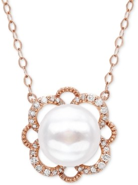 """Arabella Cultured Freshwater Pearl (8mm) & Diamond (1/10 ct. t.w.) 17"""" Pendant Necklace in 10k Rose Gold"""