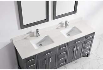 """Waverly Brayden Studio 75"""" Double Bathroom Vanity Set Brayden Studio Base Finish: French Gray, Top Finish: White"""