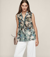 Reiss Tio Printed Sleeveless Shirt