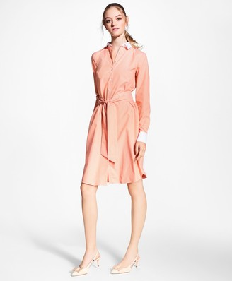 Brooks Brothers Non-Iron Striped Stretch Cotton Poplin Shirt Dress