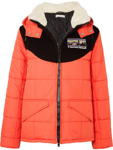 Golden Goose Agena Faux Shearling-trimmed Quilted Shell Jacket - Red