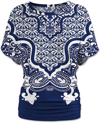 Udear UDEAR Women's Blouses Print - Blue & White Geometric Ruched Dolman Top - Women & Plus