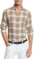 Ermenegildo Zegna Plaid Linen Sport Shirt, Orange/Medium Brown Check