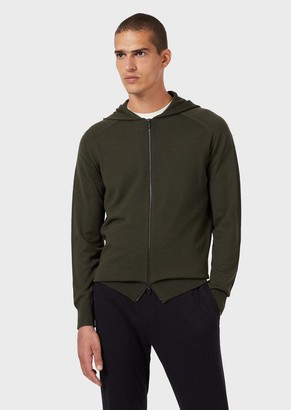 Emporio Armani Travel Essentials Virgin Wool Cardigan With Zip And Hood