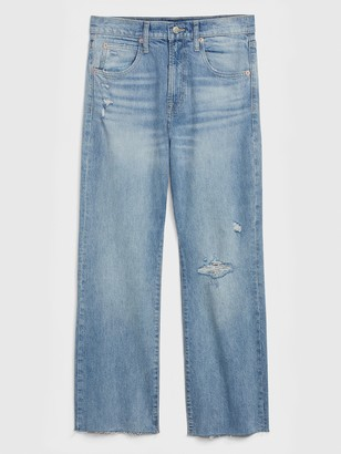 Gap High Rise Destructed Crop Ankle Flare Jeans