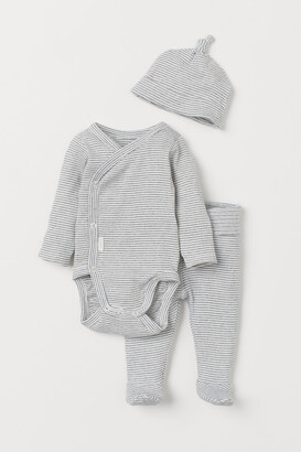 H&M Ribbed Cotton Set - Gray
