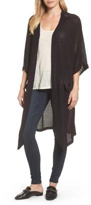 Caslon Long Textured Knit Kimono Cardigan