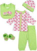 Sweet & Soft Pink & Green Elephant 'Loves Me' Five-Piece Layette Set - Infant