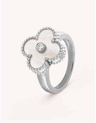 Van Cleef & Arpels Vintage Alhambra white-gold, diamond and mother-of-pearl ring, Size: 50mm, White gold