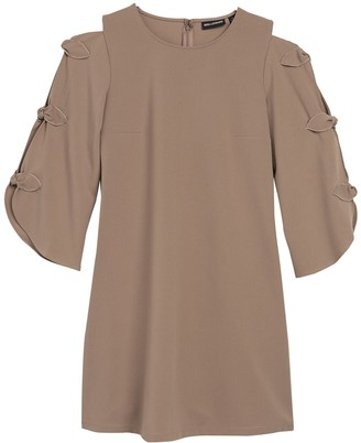 Nina Leonard Cutout Bow Sleeve Shift Dress