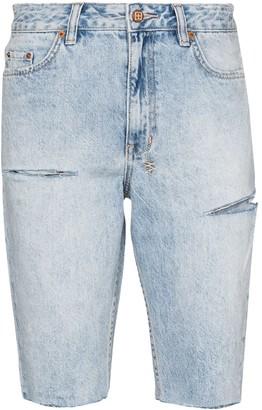 Ksubi Slashed knee-length shorts