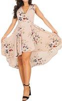 Glamaker Women's Summer V Neck Floral Dress Boho Short Dress Sleeveless