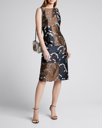 Oscar de la Renta Floral Patchwork Sleeveless Sheath Dress