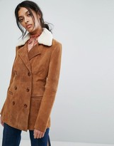 Gestuz Leather Jacket With Sheep Collar