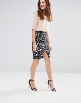 Sugarhill Boutique Gina Dark Floral Stretch Cotton Skirt