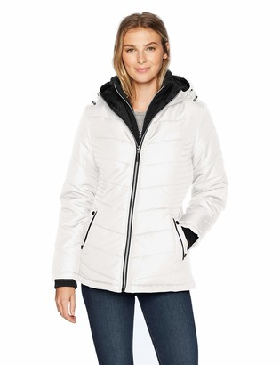 Details Women's Thigh-Length Puffer Jacket with Sweatshirt Bib