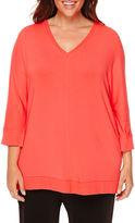 Liz Claiborne 3/4-Sleeve V-Neck Terry Tee - Plus