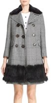 Marc Jacobs Double Breasted Check Coat with Removable Faux Fur Collar