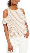 M.S.S.P. Cold Shoulder Stripe Knit Jersey Top