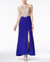 Blondie Nites Juniors' Embellished Halter Gown