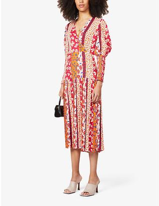 NEVER FULLY DRESSED Dakota patchwork crepe midi dress