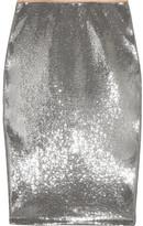 Diane von Furstenberg Sequined Tulle Midi Skirt - Silver
