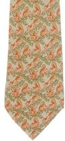 Hermes Squirrel Print Silk Tie