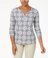 Karen Scott Print Henley Top, Created for Macy's