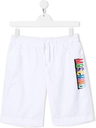 MOSCHINO BAMBINO TEEN logo print shorts
