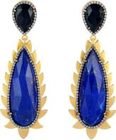 Lapis & Diamond Flame Drop Earrings