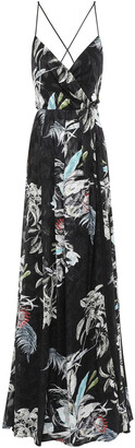 Black Halo Eve By Laurel Berman Wrap-effect Floral-print Fil Coupe Gown