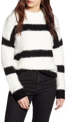 Cotton Emporium Stripe Mock Neck Eyelash Sweater