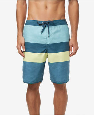 """O'Neill Men Four Square Ultrasuede Quick-Dry Colorblocked Stripe 20"""" Board Shorts"""