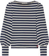 Marc Jacobs Striped Cotton-jersey Top - Navy