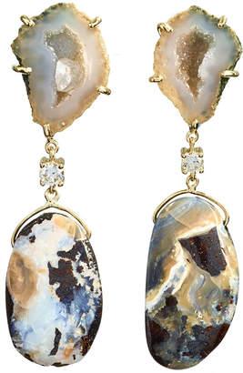 Jan Leslie 18k Bespoke 2-Tier Tribal Luxury Earrings w/ Tan Tabasco Geode, Natural Boulder Opal & Diamonds