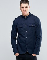 Pretty Green Lennon Jacket Military In Slim Fit Navy