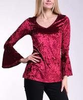 Lbisse Women's Blouses Wine - Wine Velvet Bell-Sleeve V-Neck Tunic - Women