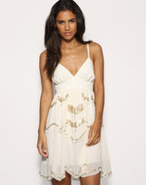 Scallop Beaded Babydoll Dress