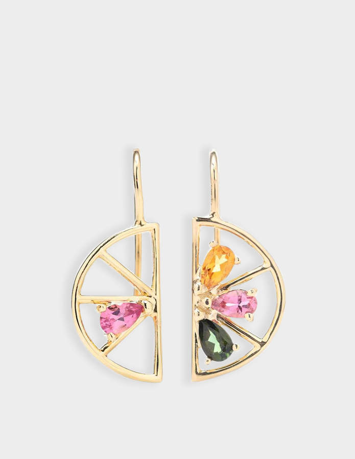 ALIITA Earrings in 9K Yellow Gold with Green, Pink and Citrine Tourmaline