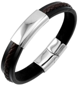 Sutton by Rhona Sutton Sutton Stainless Steel Two-Tone Leather Bracelet With Braided Stripe Detail