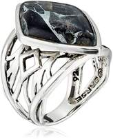 Barse Sterling Silver and Silver Matrix Obsidian Ring, Size 7