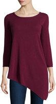 Neiman Marcus Cashmere Long-Sleeve Tunic Sweater, Burgundy