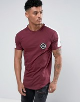 Hype T-shirt In Burgundy With Sleeve Stripe