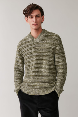 Cos Mixed Knit V-Neck Jumper