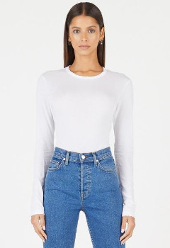 Cotton Citizen The Long Sleeve Tee In Vintage White Stone - XS
