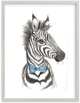Pottery Barn Kids Dapper Zebra Wall Art by Minted® 16x20, White