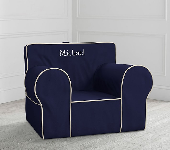 Pottery Barn Kids Oversized Navy with White Piping Anywhere Chair